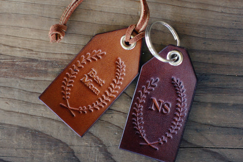 Personalized Leather Luggage Tag, Keychain key fob