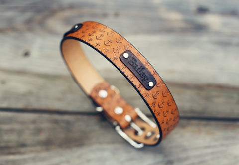 "Personalized Leather Dog Collar, 1 1/4"" Anchor pattern"
