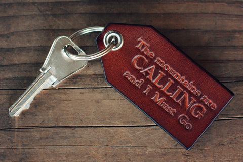 Custom Leather Luggage Tag, Keychain key fob