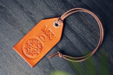 Personalized Leather Luggage Tag, Keychain Keyring