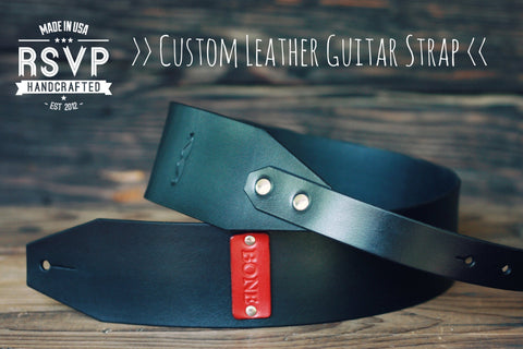 Leather Guitar Strap, moustache