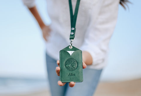 ID holder set, Pass cover and a Lanyard, ID Badge case, personalized, extra pocket, tree of life