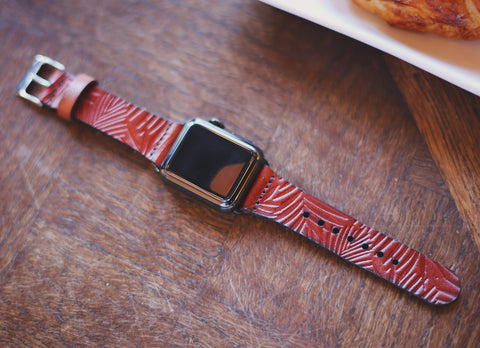 Leather Apple Watch band single tour Palm leaves tropical 42mm