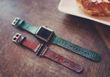 Leather Apple Watch band single tour, Palm leaves tropical