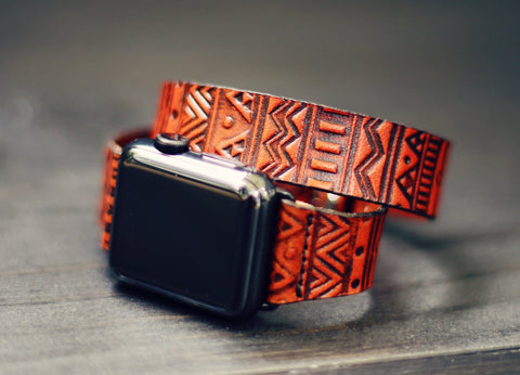 Double Tour Leather Apple Watch band single tour Aztec Boho Tribal 38mm 42mm
