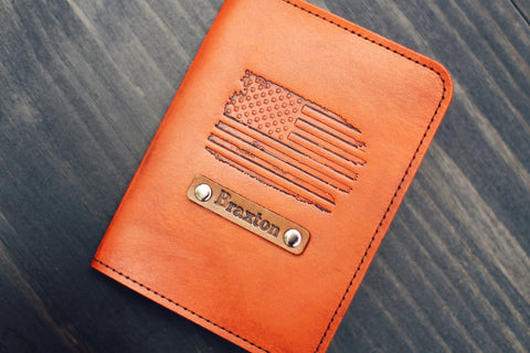 Custom Leather Passport Cover, US flag
