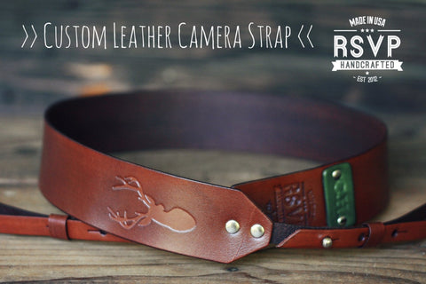Custom Leather Camera Strap, Deer