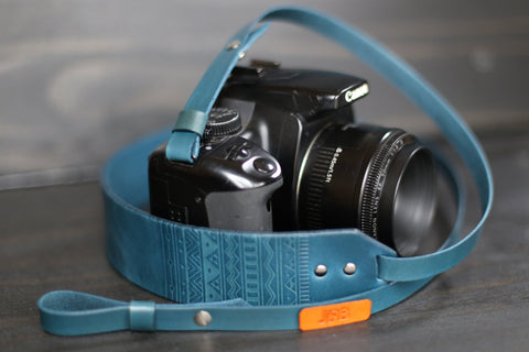 Custom Leather Skinny Camera  Strap, Aztec