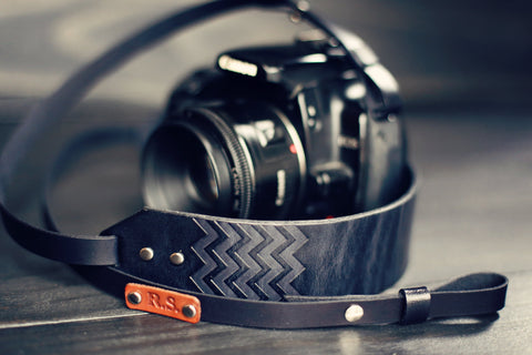 Custom Leather Skinny Camera  Strap, Chevron