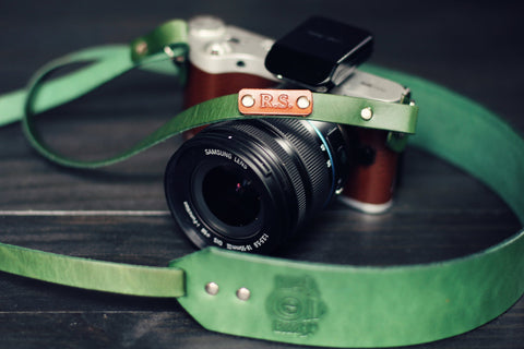 Custom Leather Skinny Camera  Strap, Camera stamp