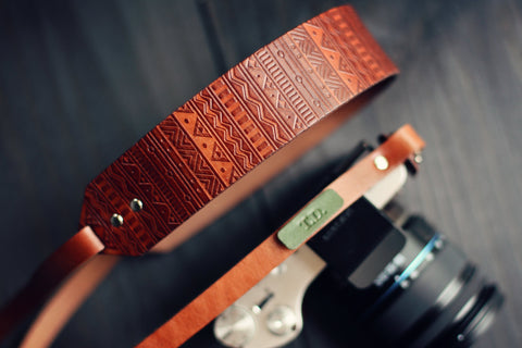 Custom Skinny Camera  Strap, Aztec pattern