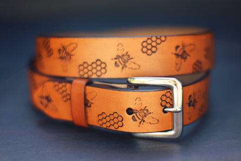 Custom Leather Belt, Bee and honey comb