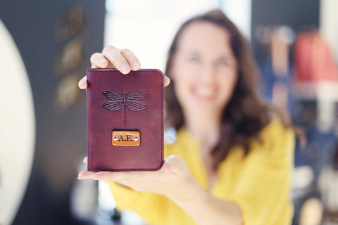 Custom Leather Passport Cover, Dragonfly