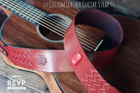 Custom Leather Guitar Strap, Chevron