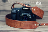 Custom Leather Camera Strap, Woodgrain