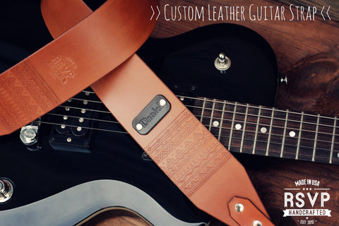 Custom Leather Guitar Strap, Aztec