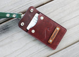 Leather ID holder, Pass cover, ID Badge case, personalized, for coins, cash, wave, mountains