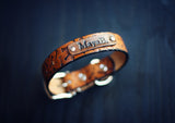 Personalized Leather Dog Collar, Bones pattern