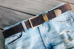 "Distressed Buffalo Leather Belt, with SNAPS Oiled Bison/Buffalo 1.5"" Wide"