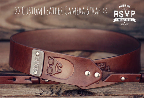 Custom Leather Camera Strap, Beard
