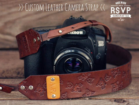 Leather Camera Strap, Roses Pattern