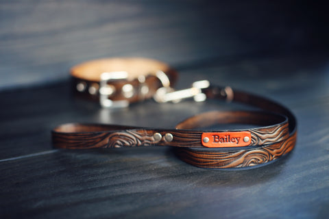 Personalized Leather Dog leash, 3/4 inch