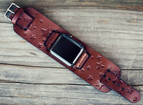 Apple watch leather Cuff Band, Stars