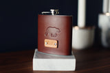 Custom Leather Flask, Handmade personalized flask, Bear
