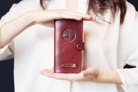 Personalized iPhone Case, Card Slot, Leather Wallet