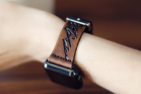 Leather Apple Watch band single tour Mountains