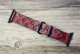 Wide Leather Apple Watch band, Skulls