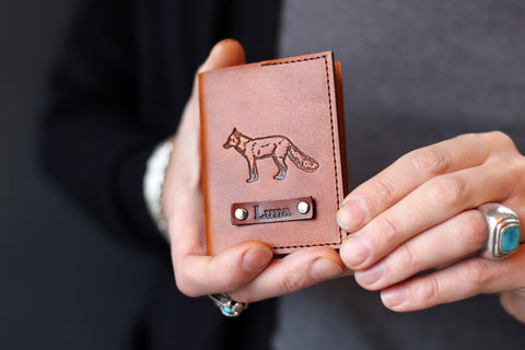 Handmade Leather Wallet, Personalized, fox