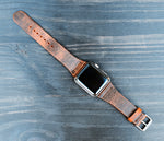 Distressed Buffalo Leather Apple Watch band, 38 40 42 44 mm Series 1 2 3 4
