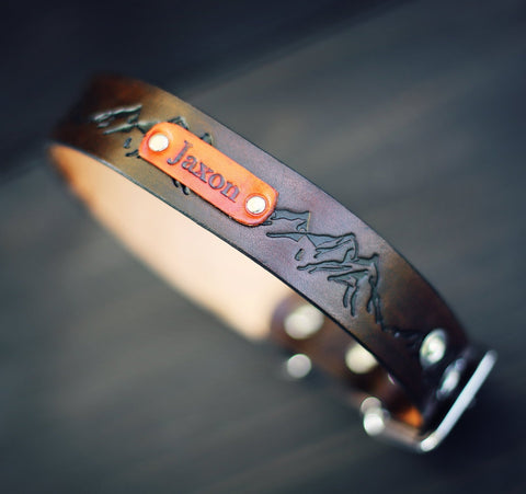 "Personalized Leather Dog Collar, 1 1/4"" Mountains pattern"