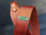 Leather Guitar Strap, Monstera pattern