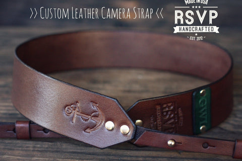 Custom Leather Camera Strap, Anchor