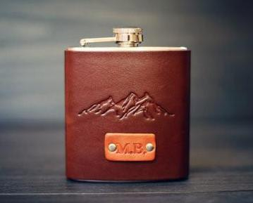 Custom Leather Flask, Mountains