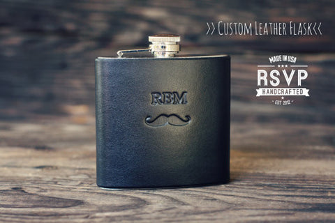 Custom Leather Flask, Handmade personalized gift for your boyfriend, Groomsman, husband, best man. Mustache. You Can Pick Initials, text