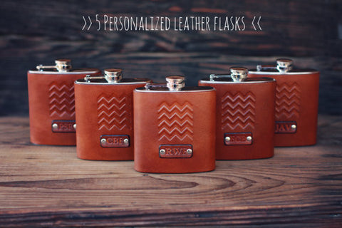 5 Custom Leather Flasks, Handmade personalized gifts for your Groomsmen, Bridesmaids, best man. Wedding party. Chevron. Pick Initials, text
