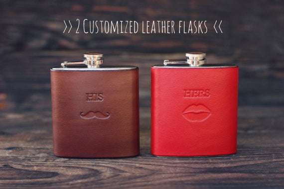 2 Custom Leather Flasks, Handmade personalized gifts for Groom and Bride, boyfriend, husband, wife. Wedding party. His, hers, initials, name