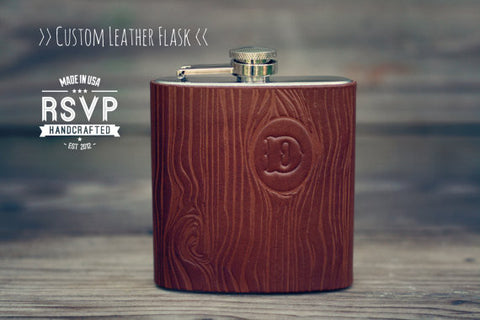 Leather Flask, Woodgrain, Pick Initial