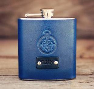 Custom Leather Flask, Personalized hip flask, Compass