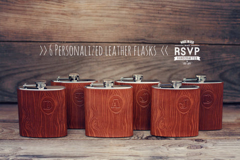 6 Custom Woodgrain Leather Flasks, Handmade personalized gifts for your Groomsmen Bridesmaids best man,Wood pattern, Wedding party. Initials