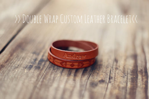 Custom Leather Aztec Bracelet Cuff, Tribal, Double Wrap, Best Friend bracelet, Personalized, Button stud, gift for boyfriend, girlfriend
