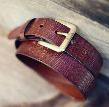 Aztec Custom Leather Belt, Handmade personalized gift, Med. Brown stain, Tribal pattern, full grain leather belt, Men's Leather Belt