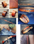 Personalized Leather Dog Collar, Mountains pattern