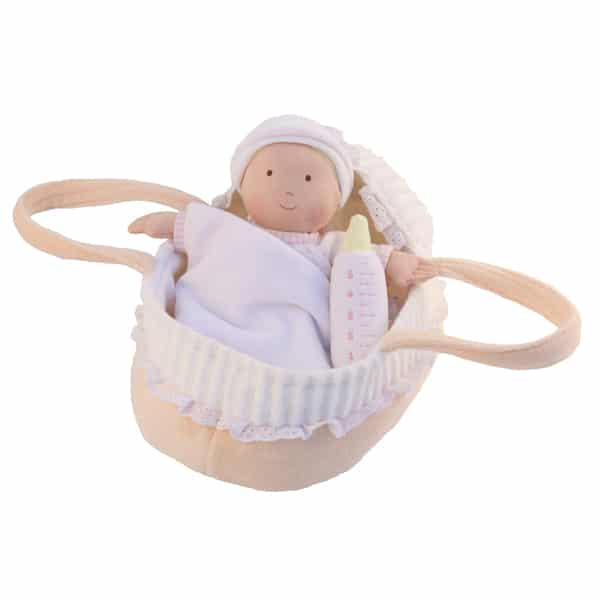 Baby Doll with Carry Cot and Blanket - 23cm - Kiddymania Rag Dolls