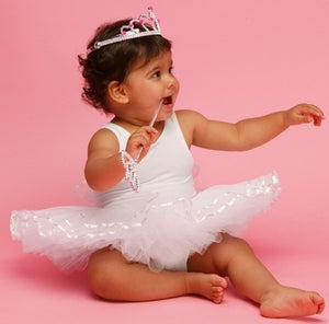 Frilly Lily White Girls Ballet Tutu Fancy Dress-0-6 months - Kiddymania