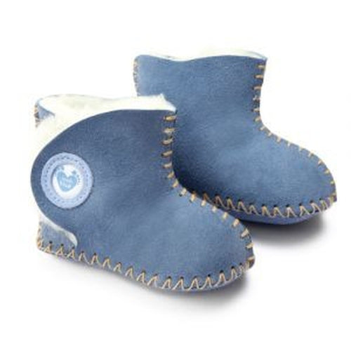 Cwtch Sheepskin Bootees Blue - Kiddymania
