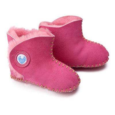 Cwtch Sheepskin Bootees Cyclamen - Kiddymania Rag Dolls